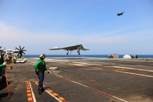 The X-47B landing on a carrier. Photo: Navy