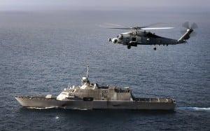 An MH-60 Romeo flying near the USS Freedom (LCS-1). Photo: U.S. Navy
