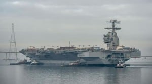 The Gerald R. Ford (CVN-78) after launching in 2012. Photo: Huntington Ingalls Industries