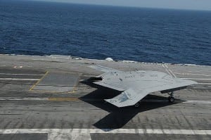 The Navy's unmanned X-47B demonstrator aboard the USS George H.W. Bush. Photo: U.S. Navy