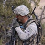 Soldier Uses Manpack To Communicate  Photo: General Dynamics