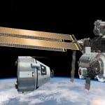 Artist's illustration of Boeing's NASA Docking System Block-1 (center right in photo). Photo: Boeing.
