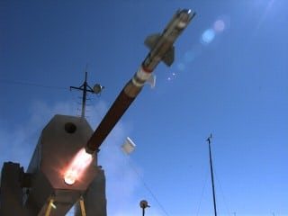 The block 2 version of the Rolling Airframe Missile during testing. Photo provided by Raytheon.