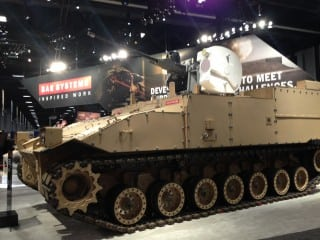 BAE Systems displays its Future Technology Demonstrator at the AUSA annual conference, combining key technologies from the canceled Ground Combat Vehicle with sensors and weapons developed elsewhere in the company's portfolio. Photo by Megan Eckstein.