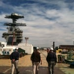 The flight deck of the Gerald R. Ford (CVN-78) is very much a construction site. Photo: Defense Daily