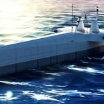 Simulation of the Leidos Anti-Submarine Warfare Continuous Trail Unmanned Vessel (ACTUV) also known as Sea Hunter. Image: Leidos.