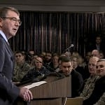 Defense Secretary Ashton Carter addresses the U.S. Cyber Command workforce at Fort Meade, Md. on March 13. Photo: U.S. Department of Defense.