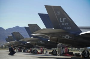 Maintenance staff inspect one of the 10 Luke AFB F-35s sent to Nellis AFB for a training deployment, April 15, 2015. Photo: U.S. Air Force.