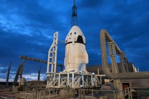 SpaceX's Dragon space capsule awaits its launch as part of an uncrewed pad abort test. Photo: SpaceX.