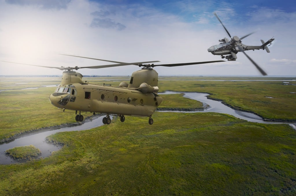 CH-47F Chinook and AH-64E Apache. Photo courtesy Boeing.