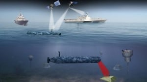 A rendering of the Knifefish unmanned underwater vehicle which will be deployed from the littoral combat ship to sweep mines. Illustration: General Dynamics.