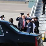 Donald J. Trump, the President of the United States of America, steps off of Air Force One, here at MacDill Air Force Base, in Tampa, FL 6 Feb. 2017. This is the first visit to MacDill AFB for the new Commander in Chief.  (U.S. Army photo by Staff Sgt. Aaron Knowles, SOCCENT, PAO NCOIC).