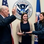 Homeland Security Secretary John Kelly, left, swears in Elaine Duke, right, as his deputy. Photo: DHS