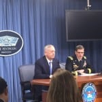 Defense Secretary Jim Mattis and Central Command chief Army Gen. Joseph Votel brief the press during an April 11, 2017, briefing at the Pentagon. (Photo by Dan Parsons)
