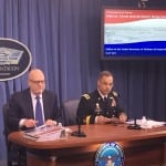 John Roth (left), performing the duties of Pentagon chief financial officer and Army Lt. Gen. Anthony R. Ierardi, Joint Staff director for force structure, resources and assessment, brief the press at the Pentagon on May 23, 2017. (Photo by Dan Parsons)