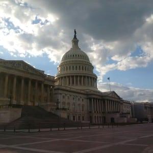 Capitol under clouds