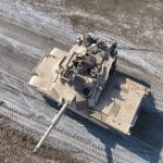 Aerial drone image of an M1A2 Abrams Main Battle Tank crew, from the 1st Armor Brigade Combat Team, 3rd Infantry Division, conducting Table VI Gunnery at Fort Stewart, Ga. December 8, 2016.