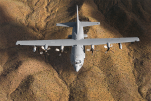 An EC-130H Compass Call flies a training mission over Lake Mead, Ariz. (U.S. Air Force Photo)