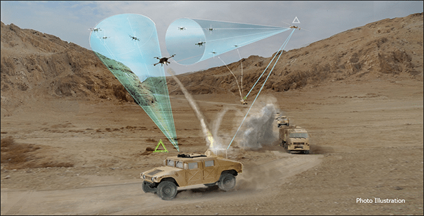 Photo illustration of DARPA's Mobile Force Protection counter-drone system.