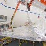 The sunshield for the James Webb Space Telescope. (Photo courtesy of Northrop Grumman)
