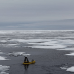 A Coast Guard-built unmanned surface vessel, although not designed for ice operations, maneuvers easily between ice floes. Photo: Coast Guard