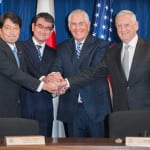 """Secretary of State Rex Tillerson, Secretary of Defense Jim Mattis, Japanese Foreign Minister Taro Kono, and Japanese Defense Minister Itsunori Onodera shake hands at the opening of the U.S.-Japan Security Consultative Committee (""""2+2""""), at the State Department on August 17, 2017. (Photo: U.S. State Department)"""