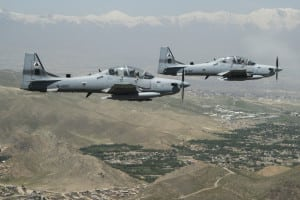 Two Afghan Air Force A-29 Super Tucanos fly over Kabul in 2016. (U.S. Air Force photo)