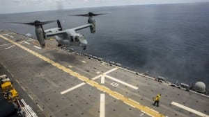 A Marine Corps MV-22B Osprey aircraft assigned to Marine Medium Tiltrotor Squadron 162, 26th Marine Expeditionary Unit, lands aboard the amphibious assault ship USS Kearsarge on Sept. 3, 2017 in preparation to support hurricane relief efforts. (Marine Corps photo by Cpl. Juan A. Soto-Delgado.)