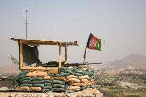 An Afghan flag flies over an observation post, Pekha Valley, Achin District, Nangarhar Province, Afghanistan, Oct. 19, 2017. (U.S. Army photo by Cpl. Matthew DeVirgilio)