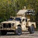 JLTV Utility vehicle on display (middle photo) is equipped with the Boeing Maneuver Short Range Air Defense (SHORAD) Launcher including a M3P .50 cal machine gun, M299 launcher with four Longbow Hellfire missiles, sensor suite, and a communications suite including a Thales VRC-111.