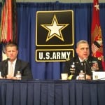 Acting Secretary of the Army Ryan McCarthy (left) and Chief of Staff Mark Milley hold a press conference at the 2017 Association of the U.S. Army annual expo in Washington, D.C.