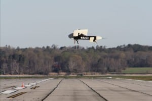 Flight test of Aurora Flight Sciences subscale VTOL UAS. Earlier this year the company conducted a series of flight tests on the 325-pound aircraft, demonstrating the ability of the tiltwing aircraft to take-off and land vertically and to fly horizontally. Photo: Aurora Flight Sciences