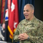 Army Gen. Gus Perna, commander of Army Materiel Command, gives opening remarks at the Warrant Officer Education Summit on  July 14, 2017, at Redstone Arsenal, Alabama. (U.S. Army photo by Sgt. 1st Class Teddy Wade)