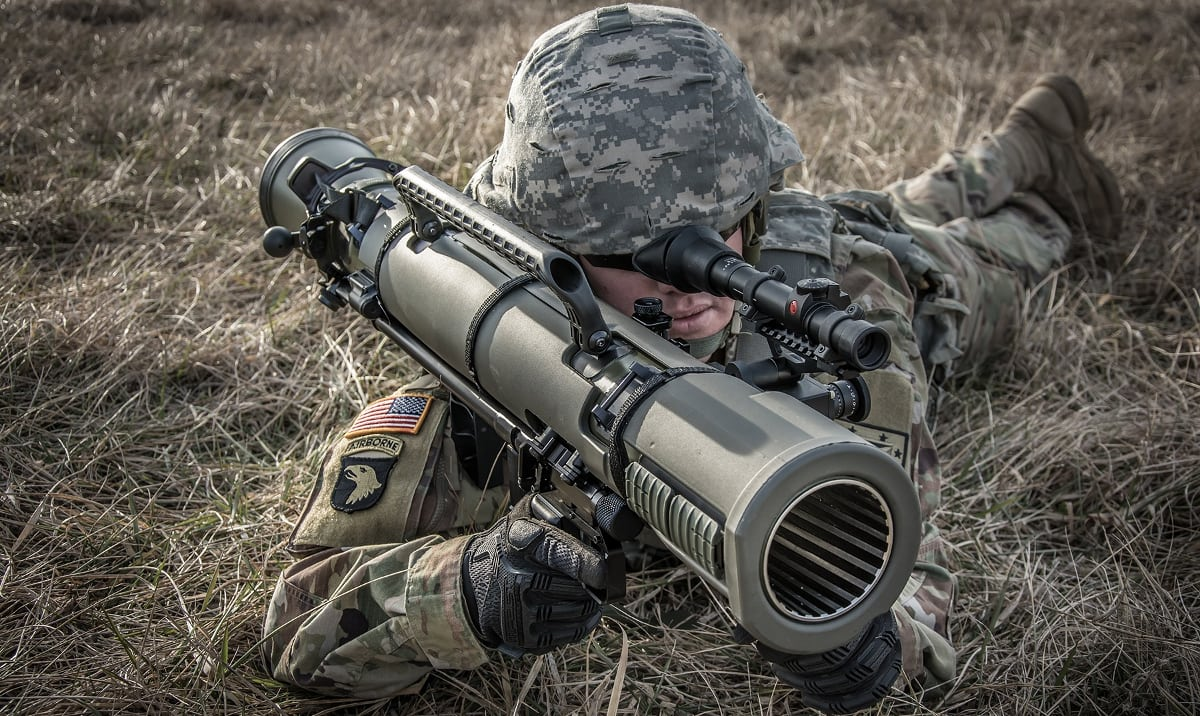 Saab M4 Carl Gustav recoilless rifle.