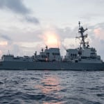 The future Arleigh Burke-class USS Ralph Johnson (DDG-114) guided-missile destroyer during builder's seat trials in the Gulf of Mexico. (Photo: U.S. Navy)