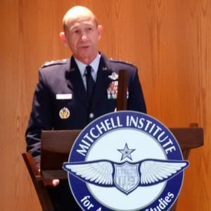 """Gen. James """"Mike"""" Holmes, head of the Air Force's Air Combat Command, speaks at an Air Force Association event. (Photo by Marc Selinger/Defense Daily)"""