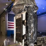 The Mobile User Objective System (MUOS)-5 satellite at Lockheed Martin's Sunnyvale, Calif. satellite manufacturing facility before its May 2016 launch. (Photo: Lockheed Martin)