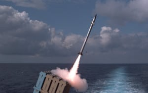 A naval-based Iron Dome Tamir missile is launched in a November 2017 intercept test. (Photo: Israel Defense Forces)
