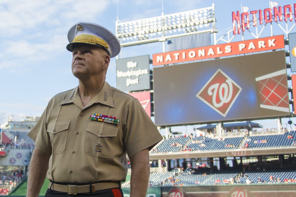 Commandant of the Marine Corps Gen. Robert B. Neller attends a baseball game at Nationals Park, Washington, D.C., July 25, 2017. Neller threw the first pitch during the annual Marine Night at the ballpark. (U.S. Marine Corps photo by Cpl. Samantha K. Braun)