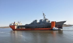 The USS Fitzgerald (DDG-62) arrives in the port of Pascagoula, Miss.on Jan. 19 aboard the heavy lift vessel MV Transself as it heads to Huntington Ingalls Industries' shipyard for repairs and upgrades. (Photo: U.S. Navy)