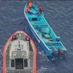 Coast Guard Cutter Stratton's Long-Range Interceptor-II cutter boat approaches a suspected drug smuggling vessel several hundred miles southwest of Acapulco, Mexico, Sept. 6, 2017, recorded by the ScanEagle small UAS on board the cutter. U.S. Coast Guard graphic.