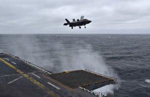 A Marine Corps F-35B lands on a ship. (U.S. Navy photo)