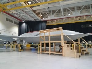 Boeing shows off its prototype for the MQ-25 unmanned carrier tanker offering in St. Louis, Miss. (Photo: Defense Daily)