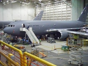 Boeing's KC-46 tanker modification center in Everett, Wash. (Photo by Marc Selinger/Defense Daily)