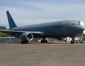 A KC-46A test plane at Boeing Field in Seattle. (Photo by Marc Selinger/Defense Daily)