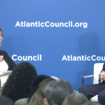 U.K. Secretary of State for Defence Gavin Williamson speaks with fmr. U.S. Air Force Secretary Deborah Lee James at the Atlantic Council in Washington, D.C. Photo: Atlantic Council