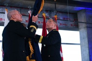 Gen. Mike Murray, commander of Army Futures Command, and Chief of Staff of the Army Gen. Mark A. Milley unfurl the Army Futures Command flag during a ceremony, Aug. 24, 2018, in Austin, Texas. (Photo Credit: U.S. Army photo by Staff Sgt. Brandy N. Mejia)