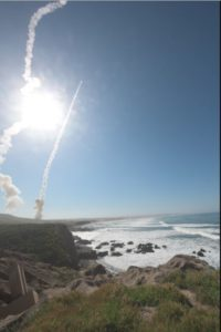 Two Ground-Based Interceptors (GBI) launch from Vandenberg Air Force Base, Calif. on March 25, 2019, in the first salvo test of an ICBM target. The GBIs successfully intercepted a target launched from the Ronald Reagan Ballistic Missile Defense Test Site on Kwajalein Atoll. (Photo: Missile Defense Agency)