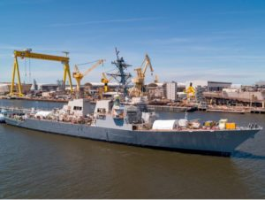 The USS Fitzgerald (DDG-62) achieved a milestone in its complex repair and restoration as it successfully launched into the water and moored pier-side at Huntington Ingalls Industries Ingalls Shipbuilding shipyard (Photo: U.S. Navy)