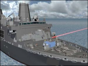 Rendering of the 150 kW Solid State Laser Technology Maturation (SSL-TM) demonstrator weapon firing from the USS Portland (LPD-27). (Image: Office of Naval Research).